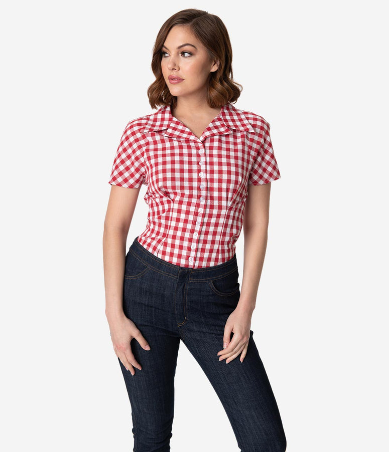 Barbie x Unique Vintage Red & White Gingham Woven Picnic Blouse