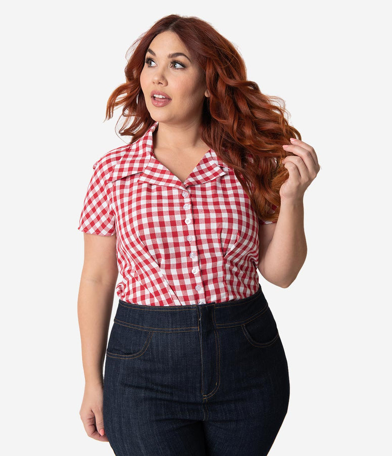 6222e4ad034 Barbie x Unique Vintage Plus Size Red   White Gingham Woven Picnic Blouse