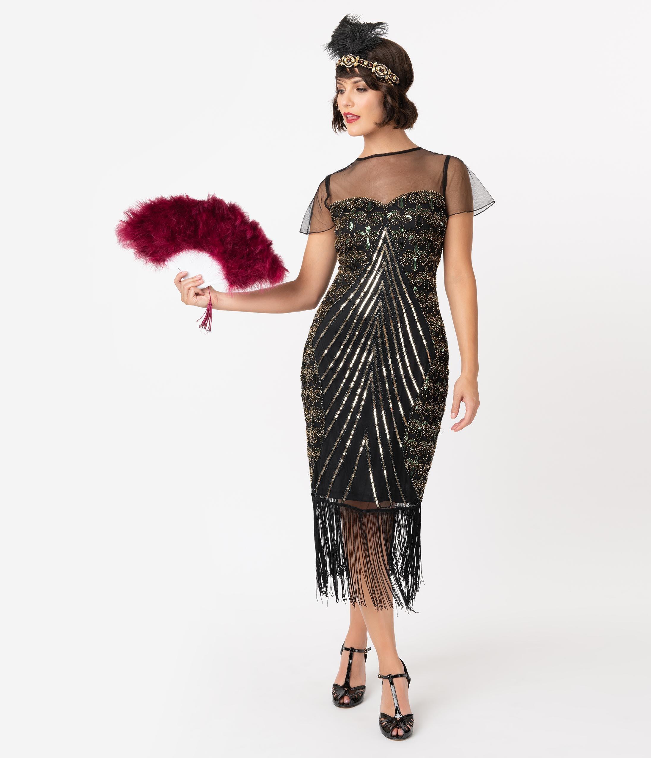 1920s Formal Dresses & Evening Gowns Guide Unique Vintage Black  Gold Beaded Cap Sleeve Rolande Fringe Flapper Dress $98.00 AT vintagedancer.com