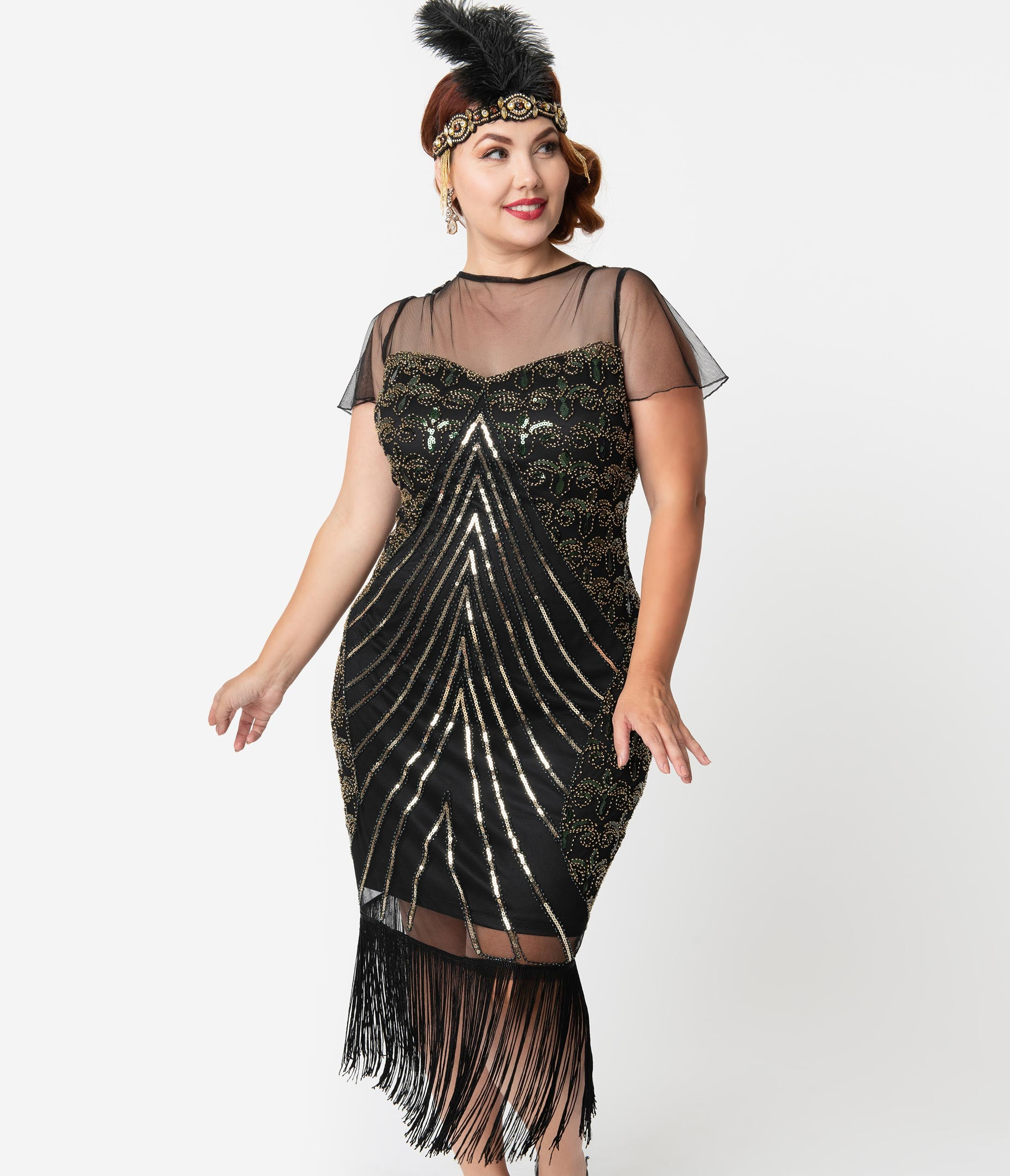 1920s Plus Size Flapper Dresses, Gatsby Dresses, Flapper Costumes Unique Vintage Plus Size Black  Gold Beaded Cap Sleeve Rolande Fringe Flapper Dress $98.00 AT vintagedancer.com