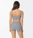 Girl Howdy Black & White Checkered Reyna Swim Crop Top