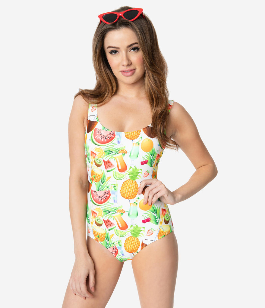 Esther Williams Tropical Sweetie Halter Sheath One Piece Swimsuit