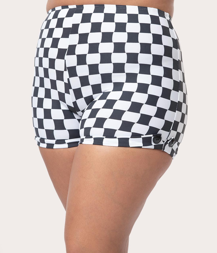 Girl Howdy Plus Size Black & White Checkered Reyna Swim Shorts
