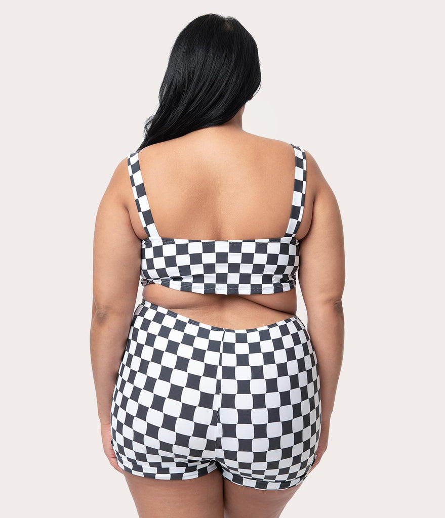 Girl Howdy Plus Size Black & White Checkered Reyna Swim Crop Top