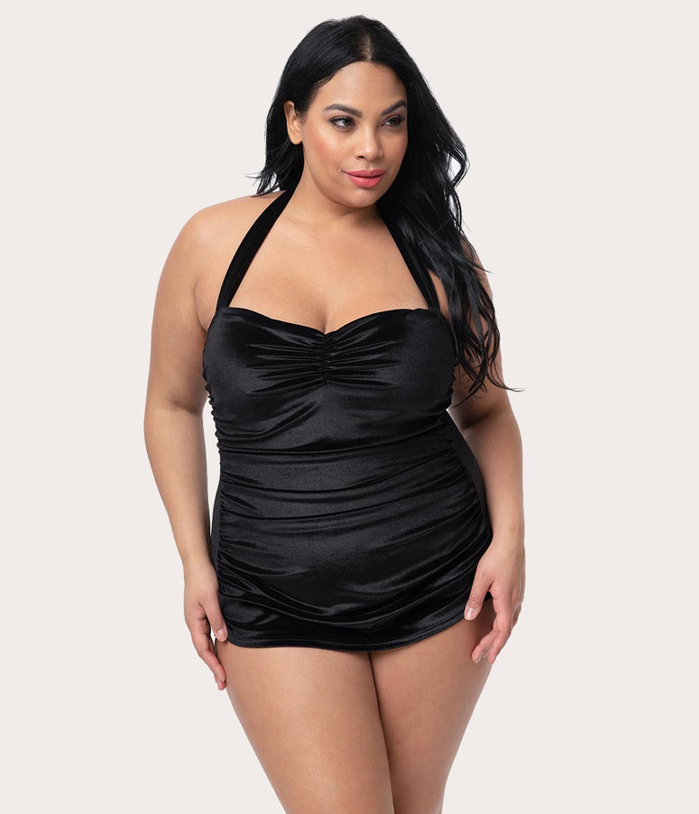 a6825133d0a Girl Howdy Plus Size Black Velvet Halter Sheath Darlene One Piece Swimsuit