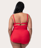 Bettie Page Plus Size Retro Style Red Cutout One Piece Swimsuit