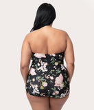 Bettie Page Plus Size Vintage Pin-Up Black & Pink Blossom Floral Sheath Swimsuit