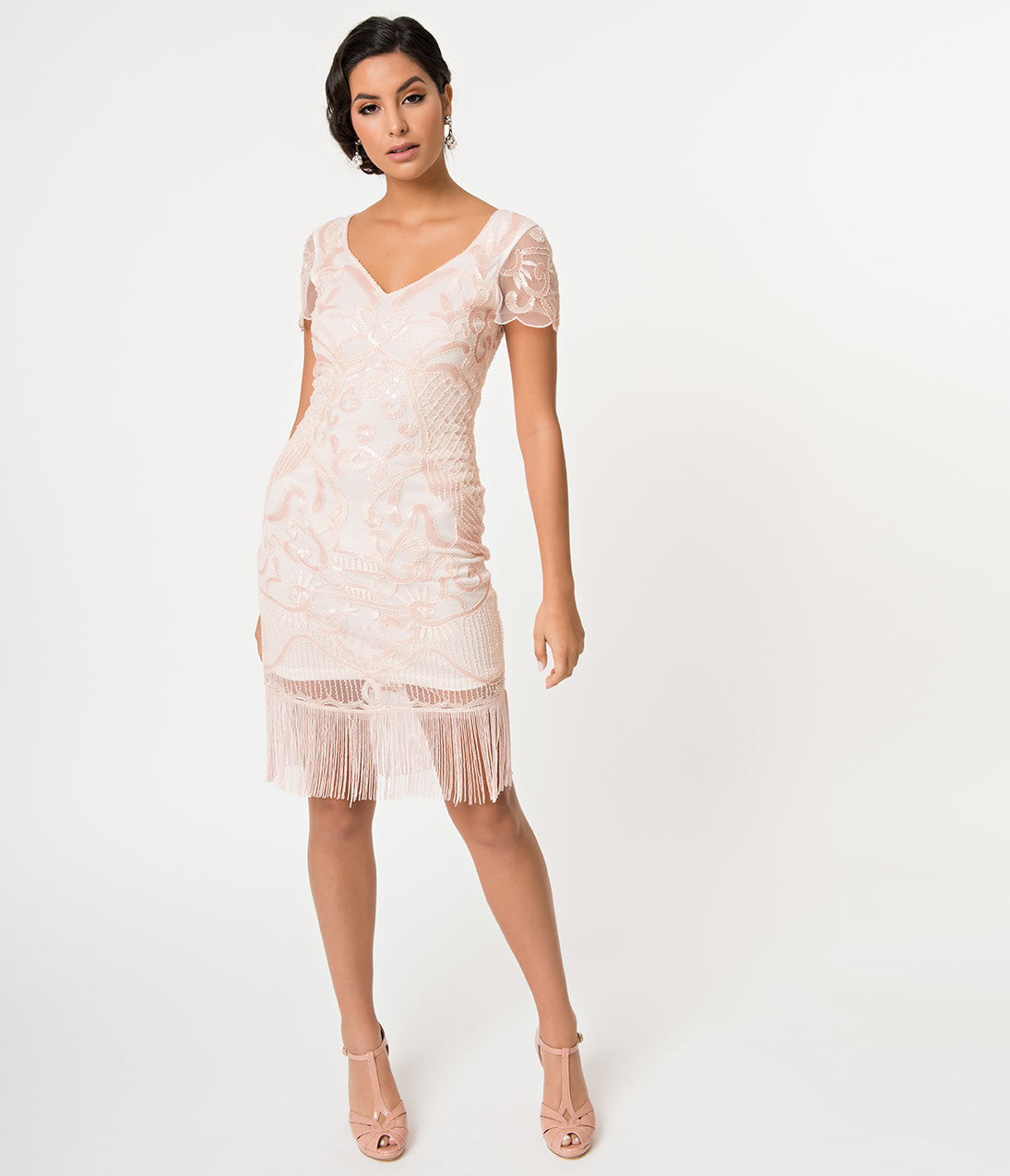1920s Evening Dresses & Formal Gowns Light Pink Beaded  Sequin Cap Sleeve Fringe Cocktail Flapper Dress $98.00 AT vintagedancer.com
