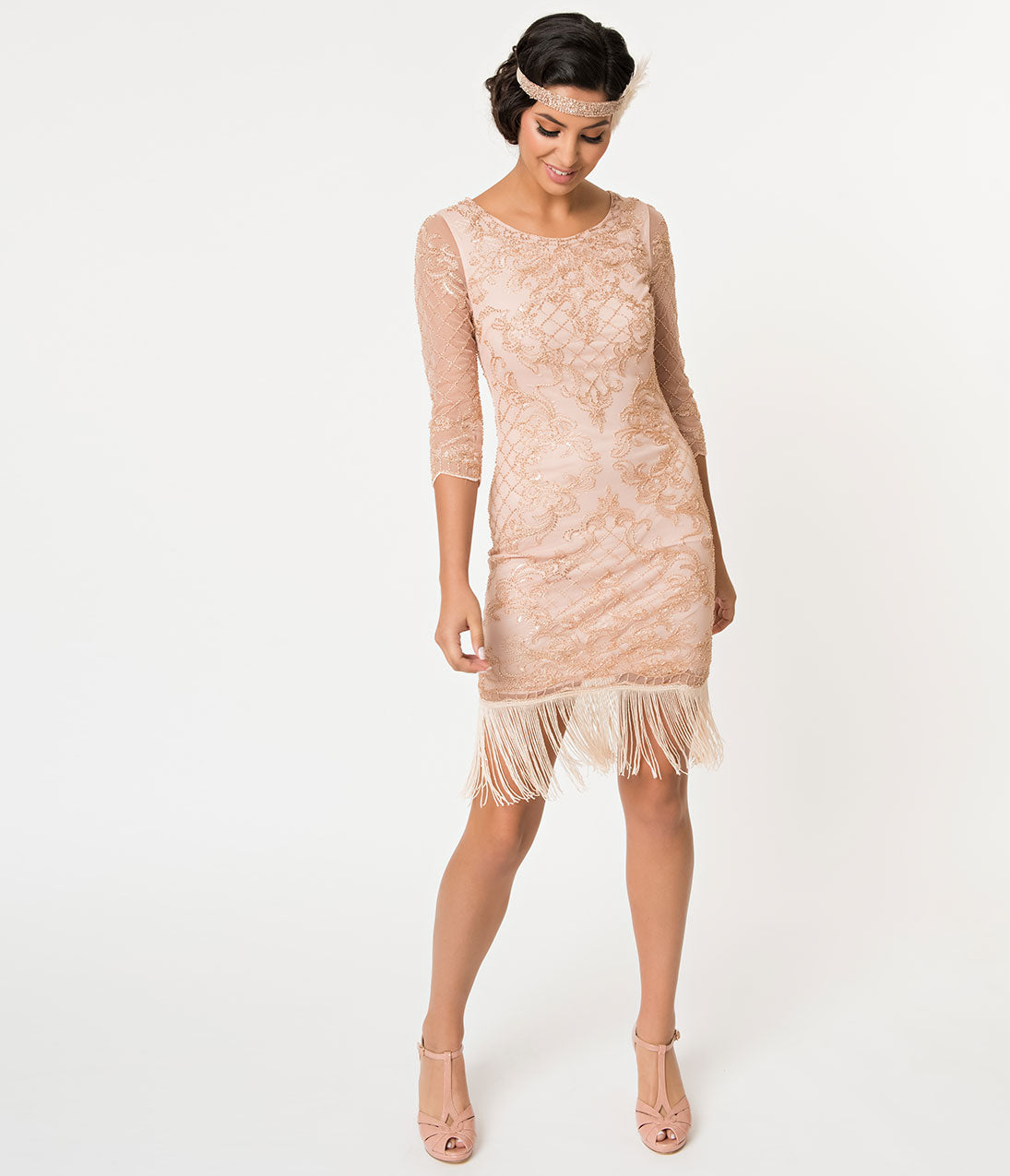 1920s Costumes: Flapper, Great Gatsby, Gangster Girl 1920S Style Rose Pink  Gold Beaded Sleeved Fringe Flapper Dress $110.00 AT vintagedancer.com
