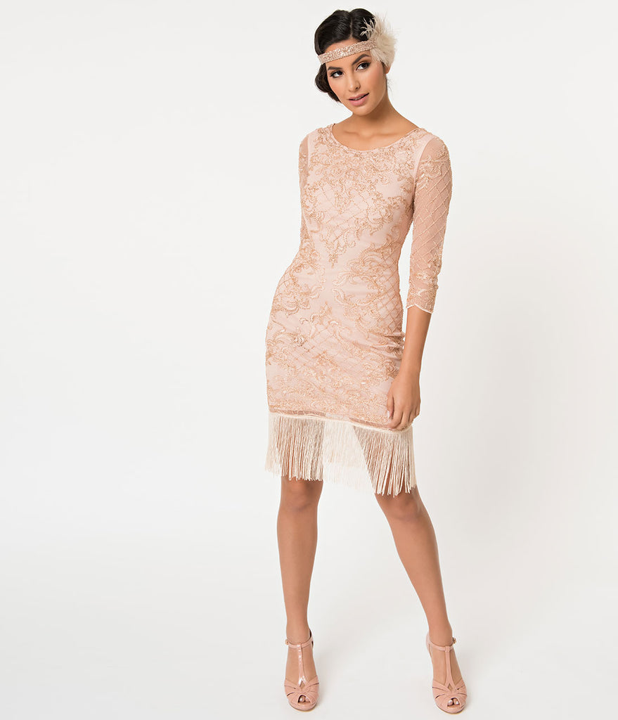 1920s Style Rose Pink & Gold Beaded Sleeved Fringe Flapper Dress