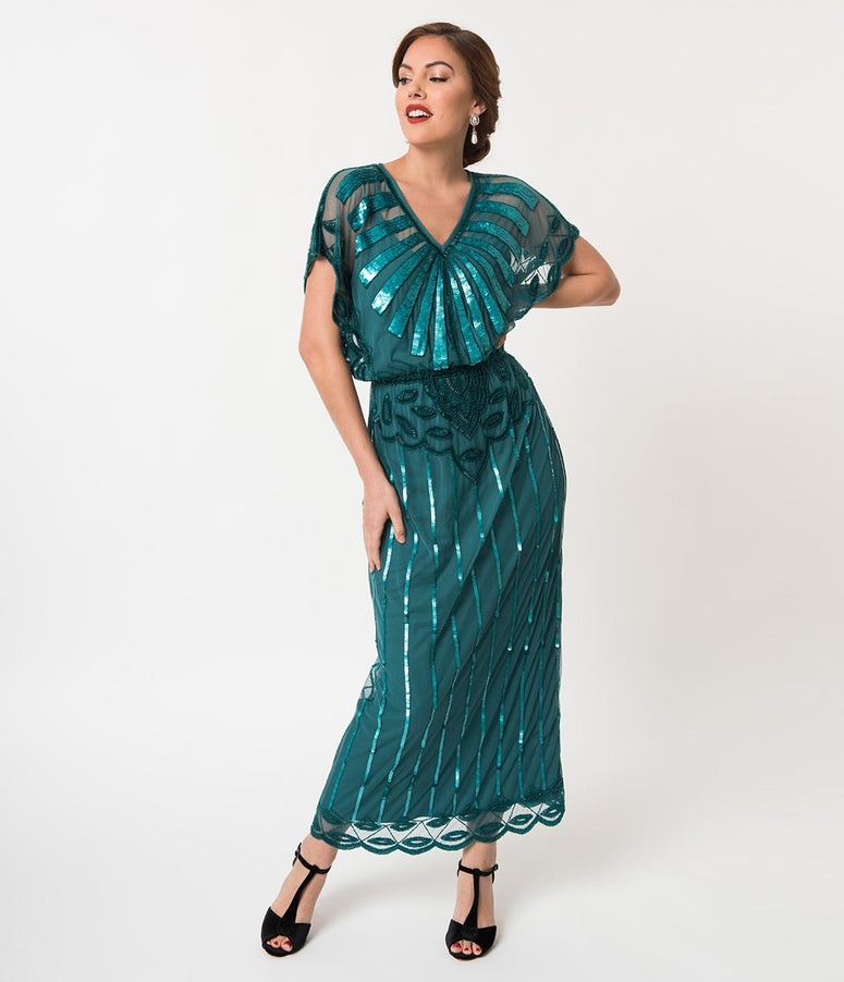 1920s Teal Beaded Deco Angelina Maxi Flapper Dress