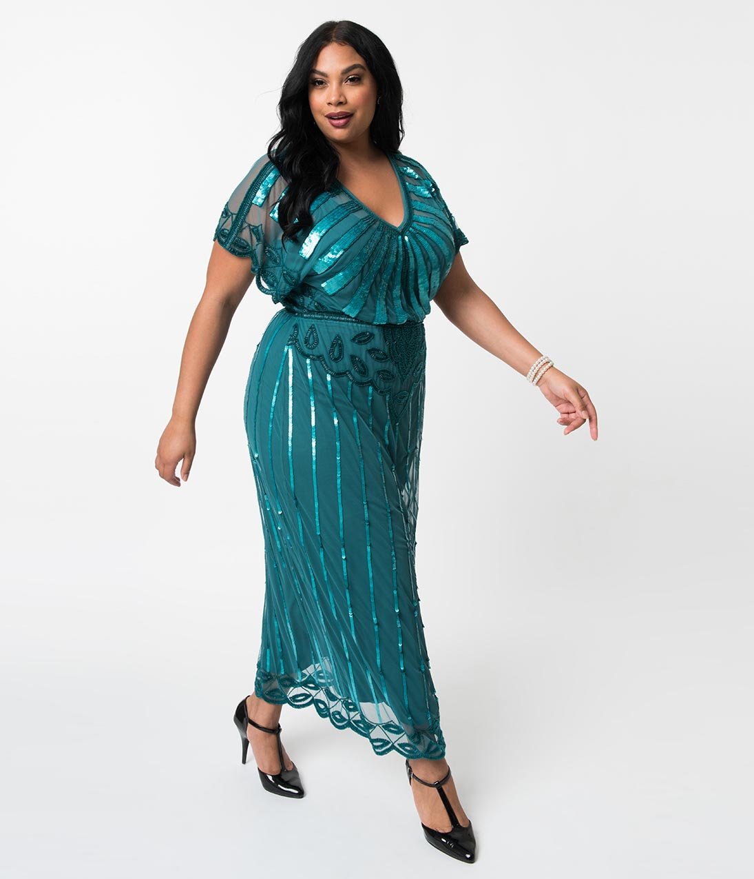 1930s Art Deco Plus Size Dresses | Tea Dresses, Party Dresses Plus Size 1920S Teal Beaded Deco Angelina Maxi Flapper Dress $168.00 AT vintagedancer.com