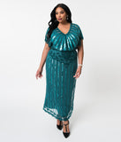 Plus Size 1920s Teal Beaded Deco Angelina Maxi Flapper Dress