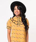 Mustard Yellow Weiner Dog Print Short Sleeve Crepe Blouse