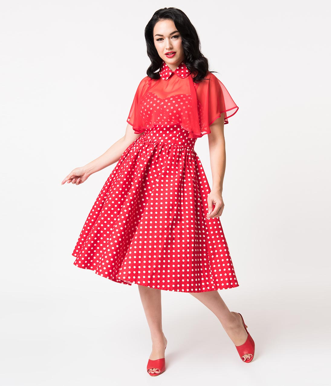 Swing Dance Clothing You Can Dance In Unique Vintage 1940S Style Red  White Polka Dot Cotton Luna Swing Dress  Mesh Capelet $65.00 AT vintagedancer.com