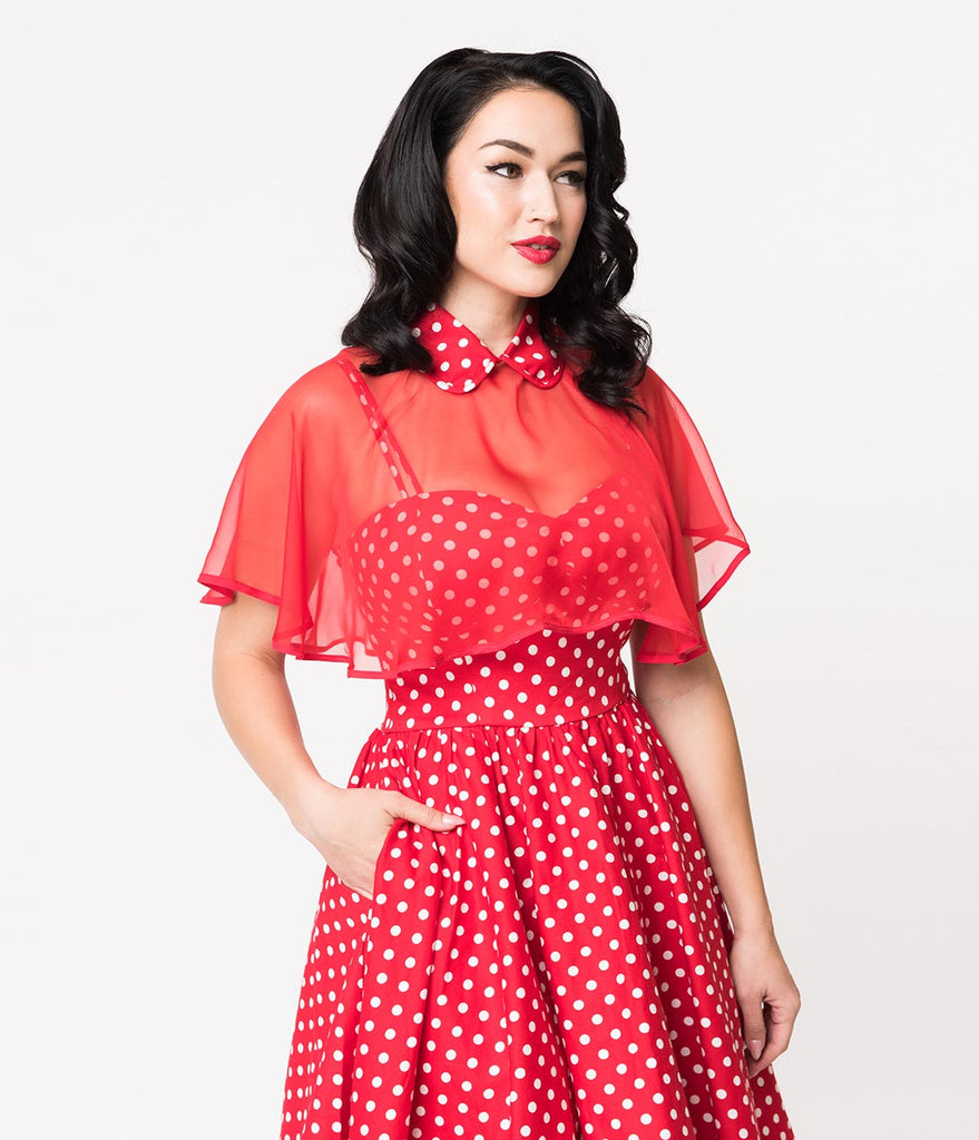 7d6614bf0eb ... Unique Vintage 1940s Style Red   White Polka Dot Cotton Luna Swing Dress    Mesh Capelet ...