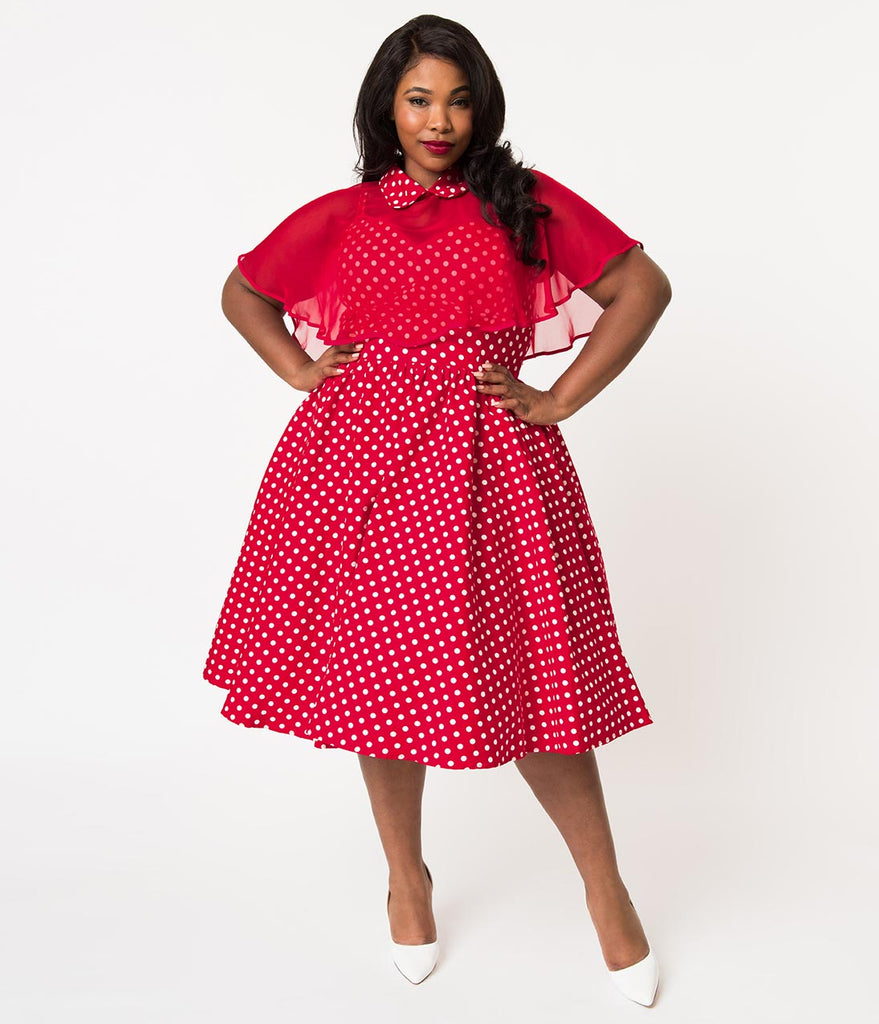 Unique Vintage Plus Size 1940s Style Red & White Polka Dot Cotton Luna  Swing Dress & Mesh Capelet