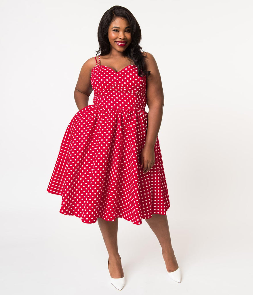 34f3ba84c7f ... Unique Vintage Plus Size 1940s Style Red   White Polka Dot Cotton Luna Swing  Dress