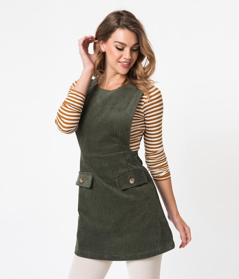 1960s Style Olive Green Corduroy Casual Dress