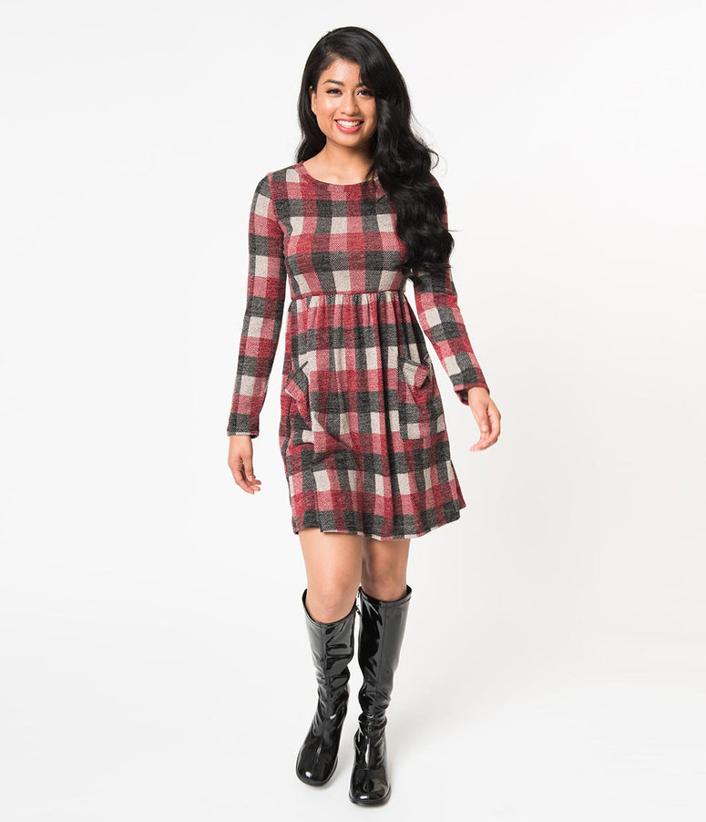 Red & Black Checkered Pattern Long Sleeve Sweater Knit Flare Dress