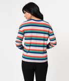 Retro Style Multicolor Striped Long Sleeve Knit Top