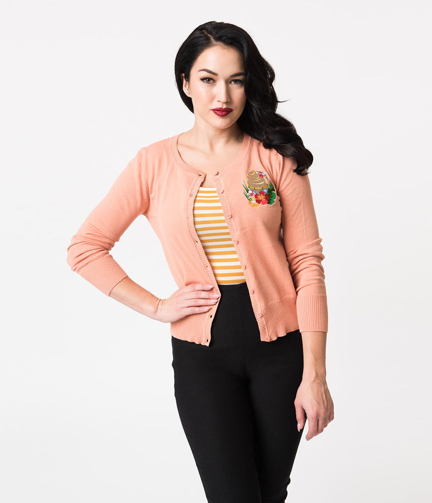 Peach Pink Tropical Treat Long Sleeve Knit Cardigan