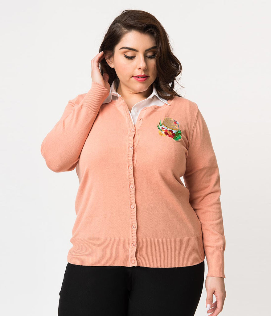 Plus Size Peach Pink Tropical Treat Long Sleeve Knit Cardigan