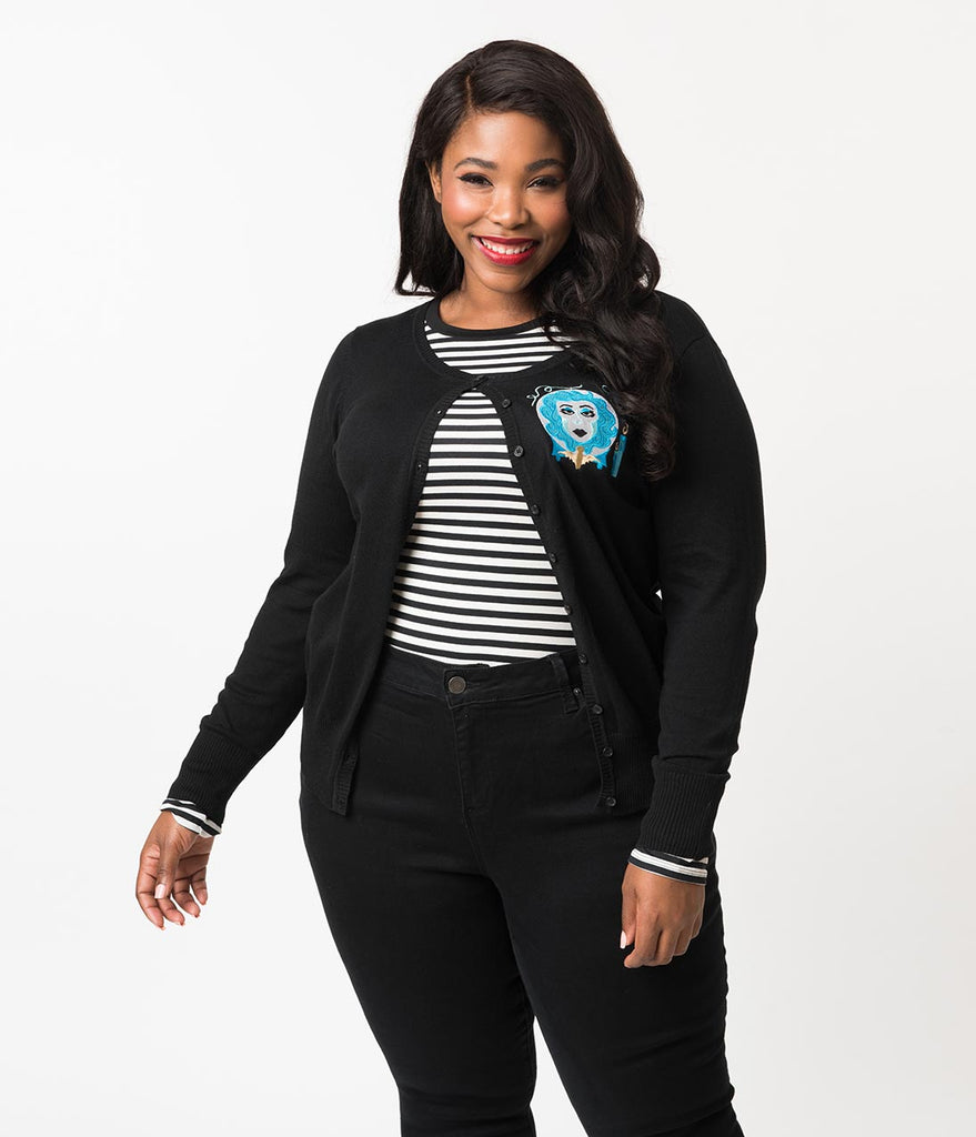 Plus Size Black Knit Haunted Fortune Teller Long Sleeve Cardigan