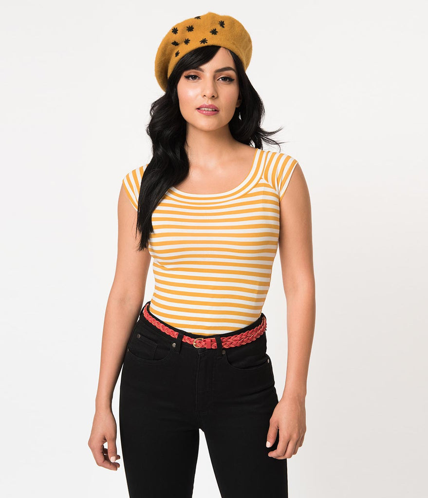 Folter Mustard Yellow & White Striped Short Sleeve Top