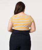 Folter Plus Size Mustard Yellow & White Striped Short Sleeve Top