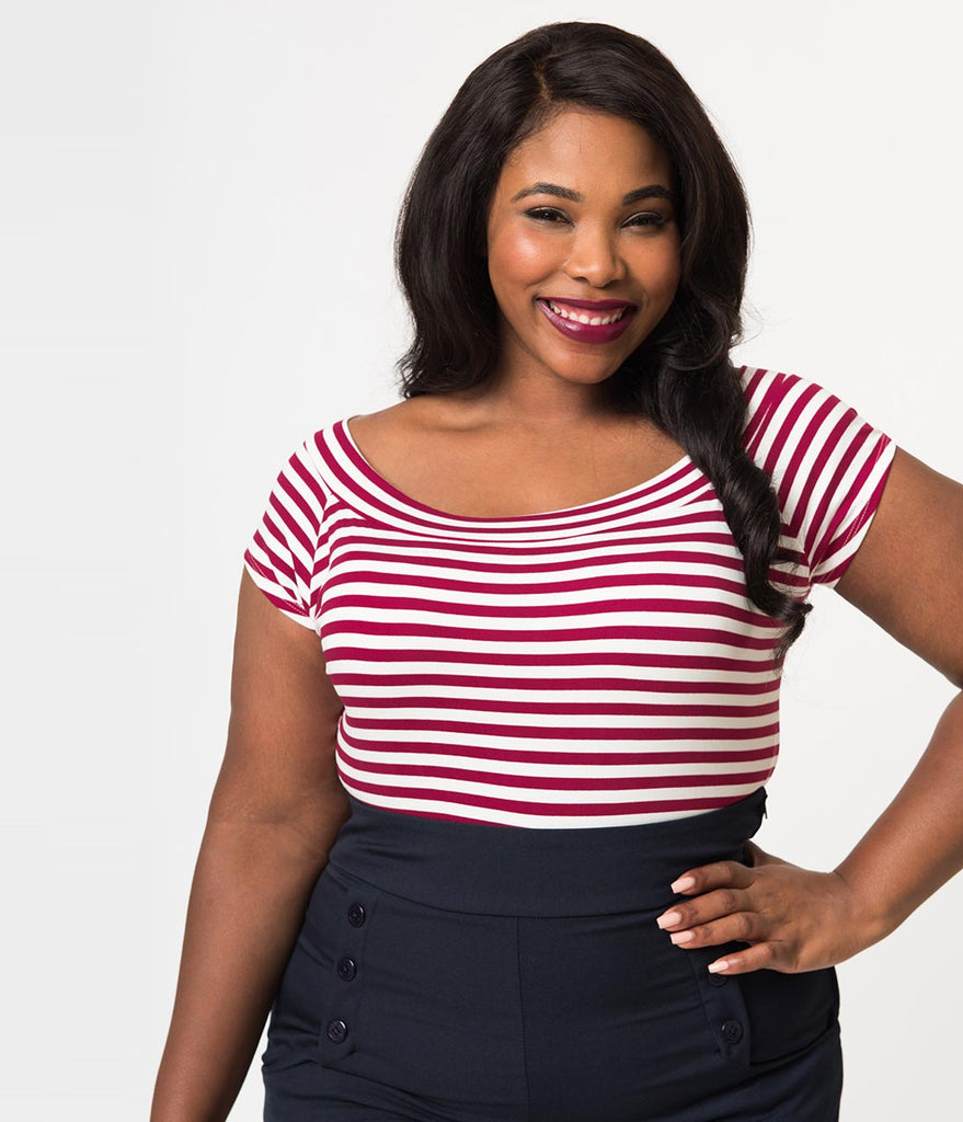 Folter Plus Size Wine & White Striped Short Sleeve Top