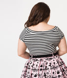 Folter Plus Size Black & White Striped Short Sleeve Top