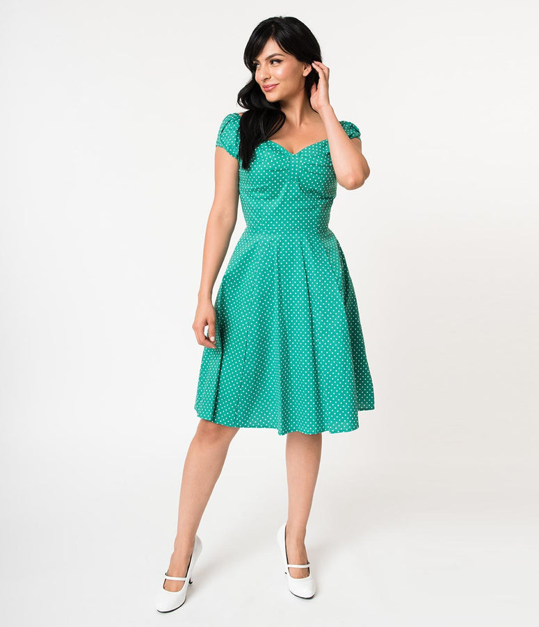 Vintage Style Kelly Green & White Polka Dot Cap Sleeved Flare Dress