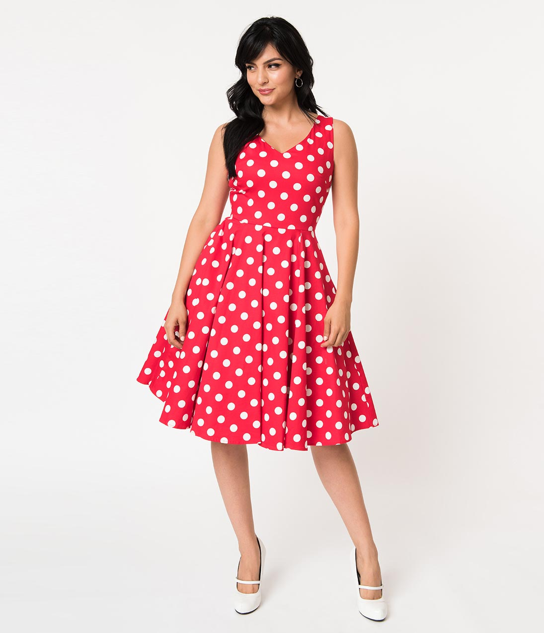 Vintage Polka Dot Dresses – 50s Spotty and Ditsy Prints Vintage Style Red  White Polka Dot Sleeveless Cotton Swing Dress $68.00 AT vintagedancer.com