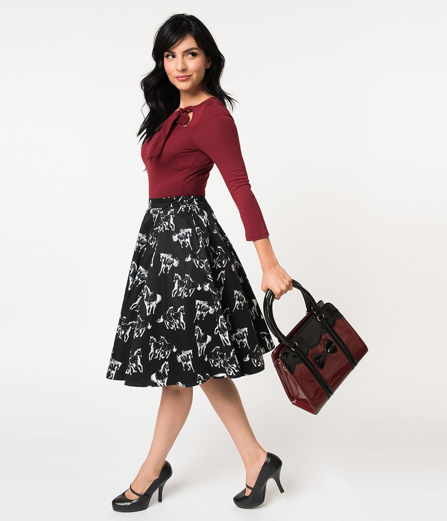 1950s Style Black & White Equine Print Cotton Swing Skirt