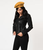 Black Leatherette Long Sleeve Zipper Moto Jacket