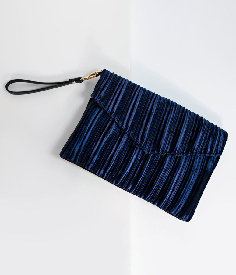 Royal Blue Velvet Ruched Envelope Clutch