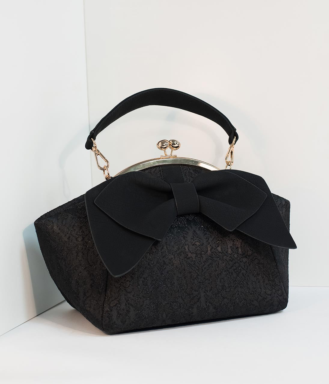 1950s Handbags, Purses, and Evening Bag Styles Black Embroidered  Large Bow Frame Handbag $52.00 AT vintagedancer.com