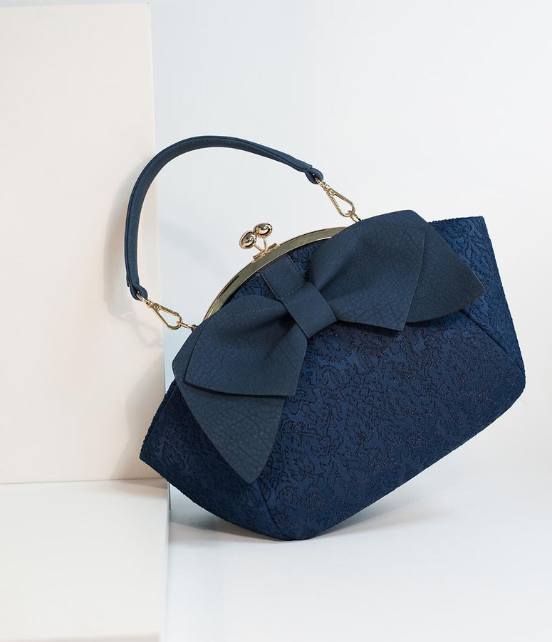 Navy Blue Embroidered & Large Bow Frame Handbag