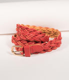 Red Leatherette Braided Thin Belt
