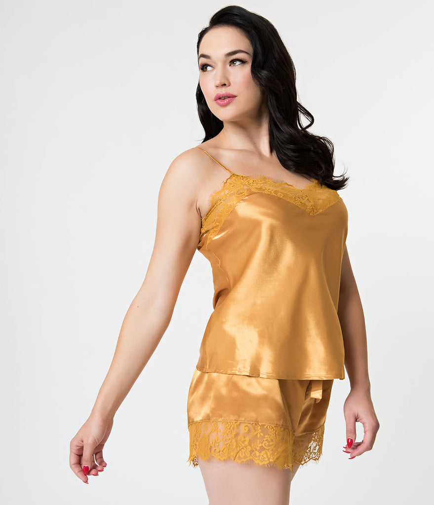 Golden Mustard Yellow Satin & Lace Pajama Set