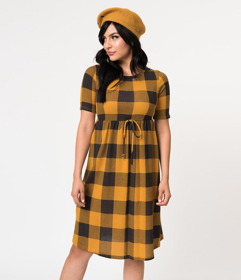 Mustard & Grey Gingham Short Sleeve Sweater Knit Flare Dress