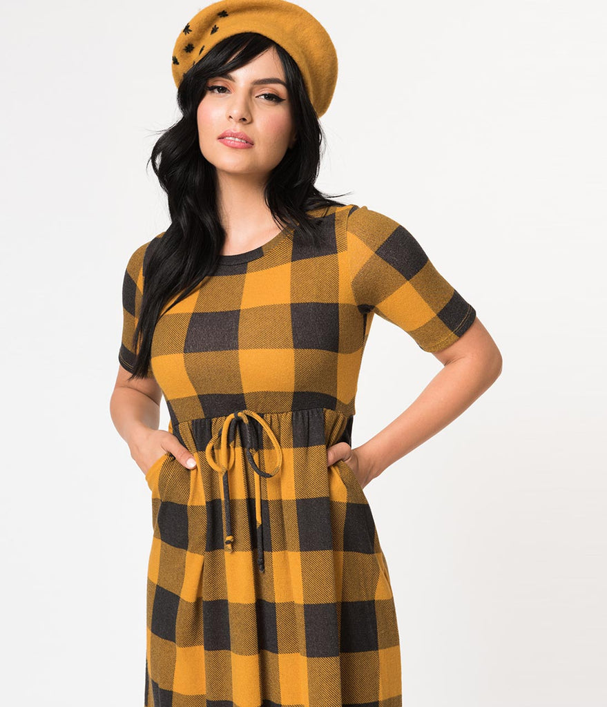 21819e40861 ... Mustard   Grey Gingham Short Sleeve Sweater Knit Flare Dress ...