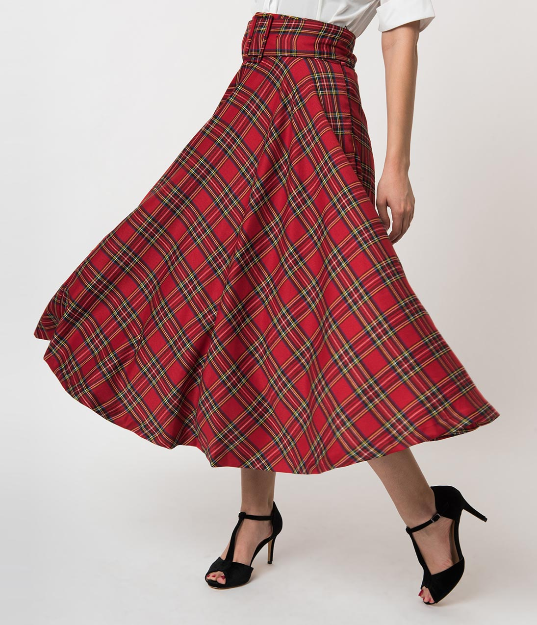 50s Skirt Styles | Poodle Skirts, Circle Skirts, Pencil Skirts Vintage Style Red Cotton Plaid Belted High Waist Midi Skirt $52.00 AT vintagedancer.com