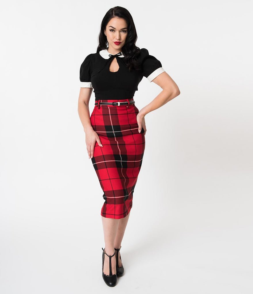1960s Style Red & Black Plaid Woven High Waist Wiggle Skirt