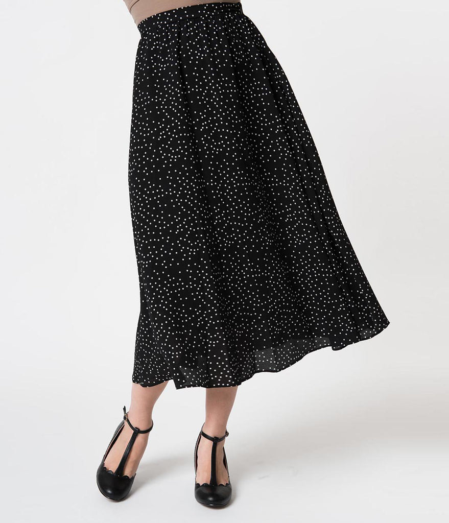 bf6ff0015a ... Vintage Style Black & White Pin Dot Crepe High Waist Midi Skirt ...