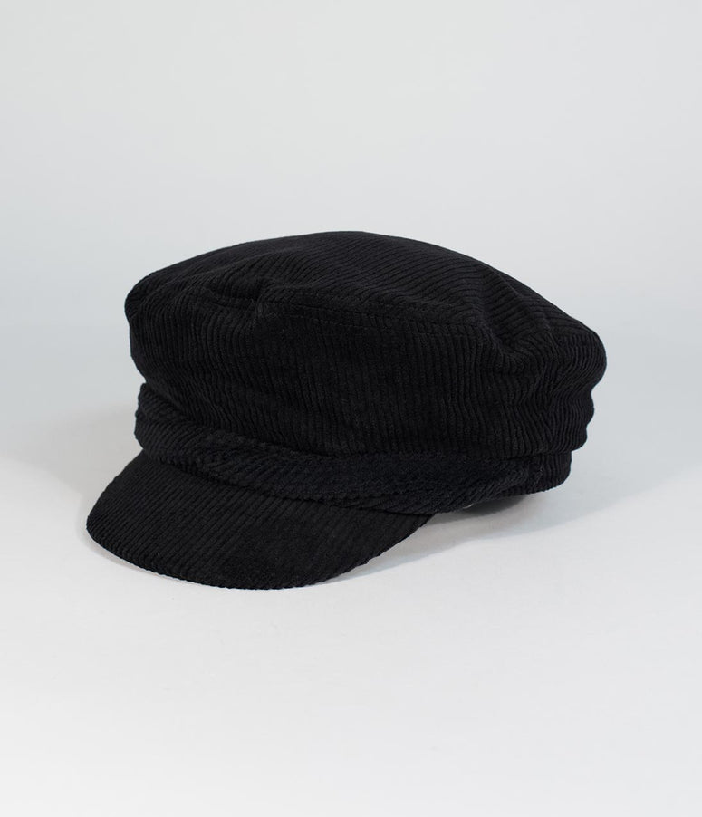 Black Corduroy Cotton Cabbie Cap