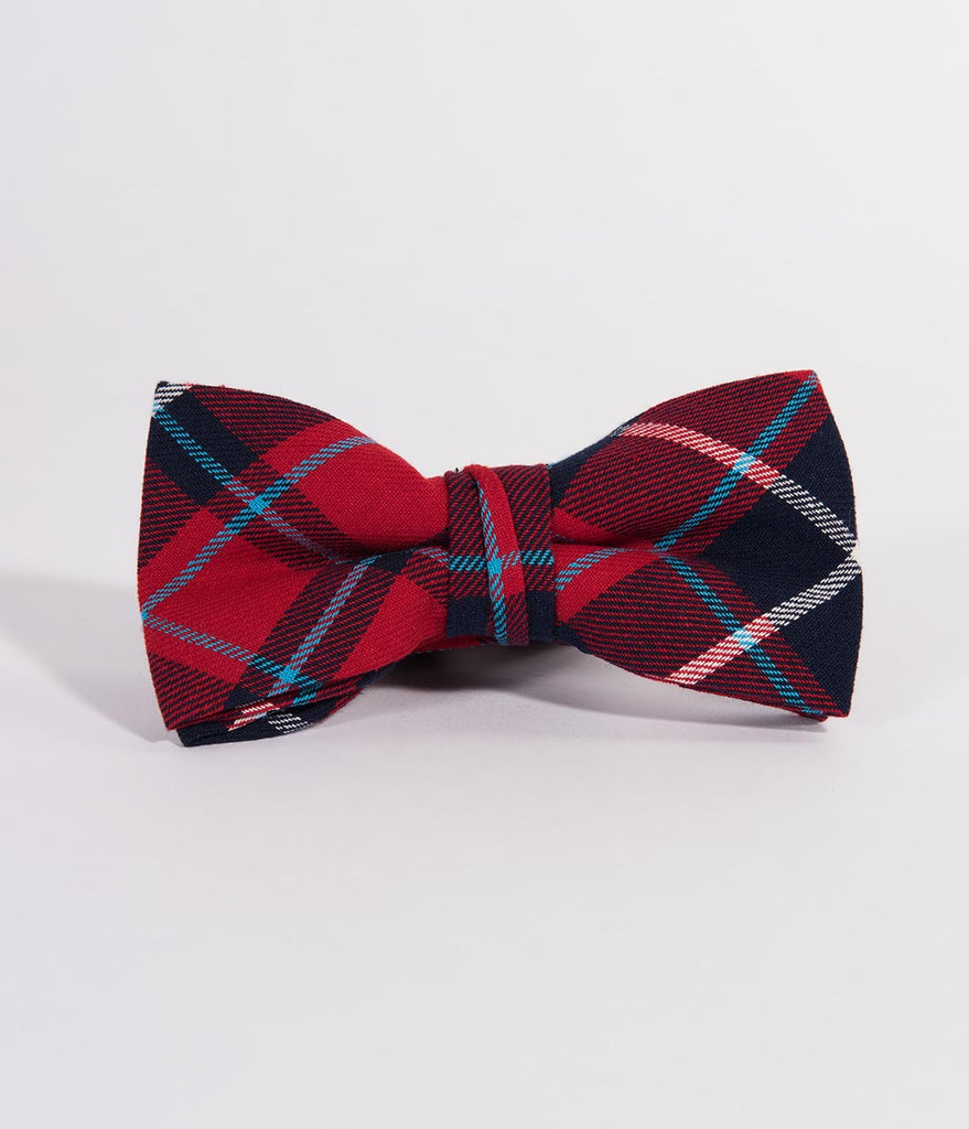 Red & Navy Flannel Plaid Pre-Tied Bow Tie