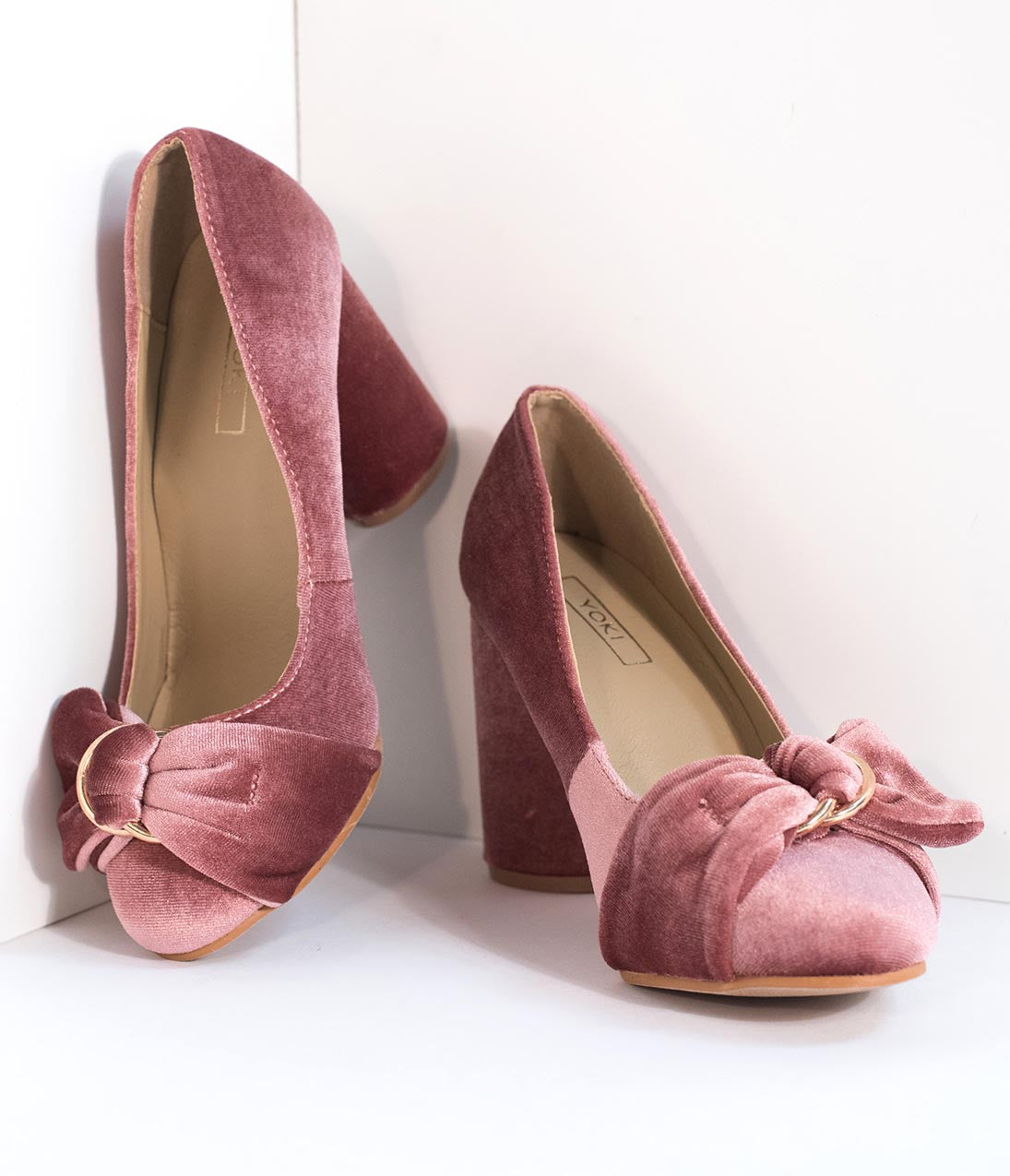 1940s Style Shoes, 40s Shoes Blush Pink Velvet Buckle Bow Closed Toe Heels $38.00 AT vintagedancer.com