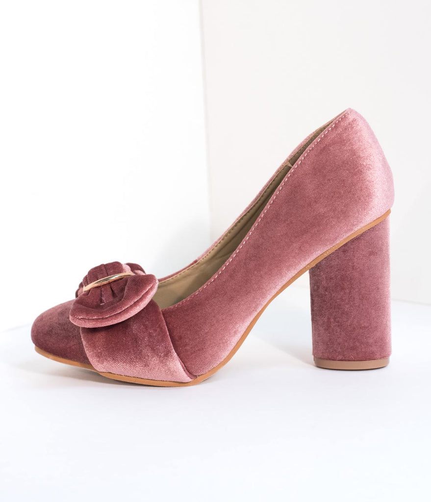 Blush Pink Velvet Buckle Bow Closed Toe Heels